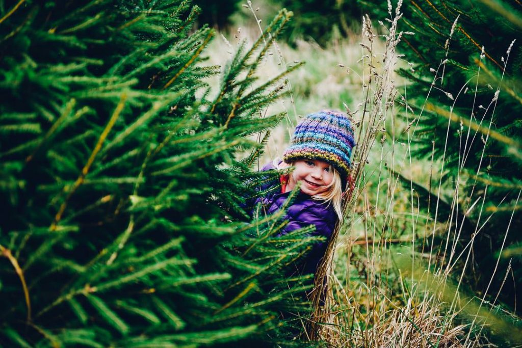 a child hiding behind a Christmas tree