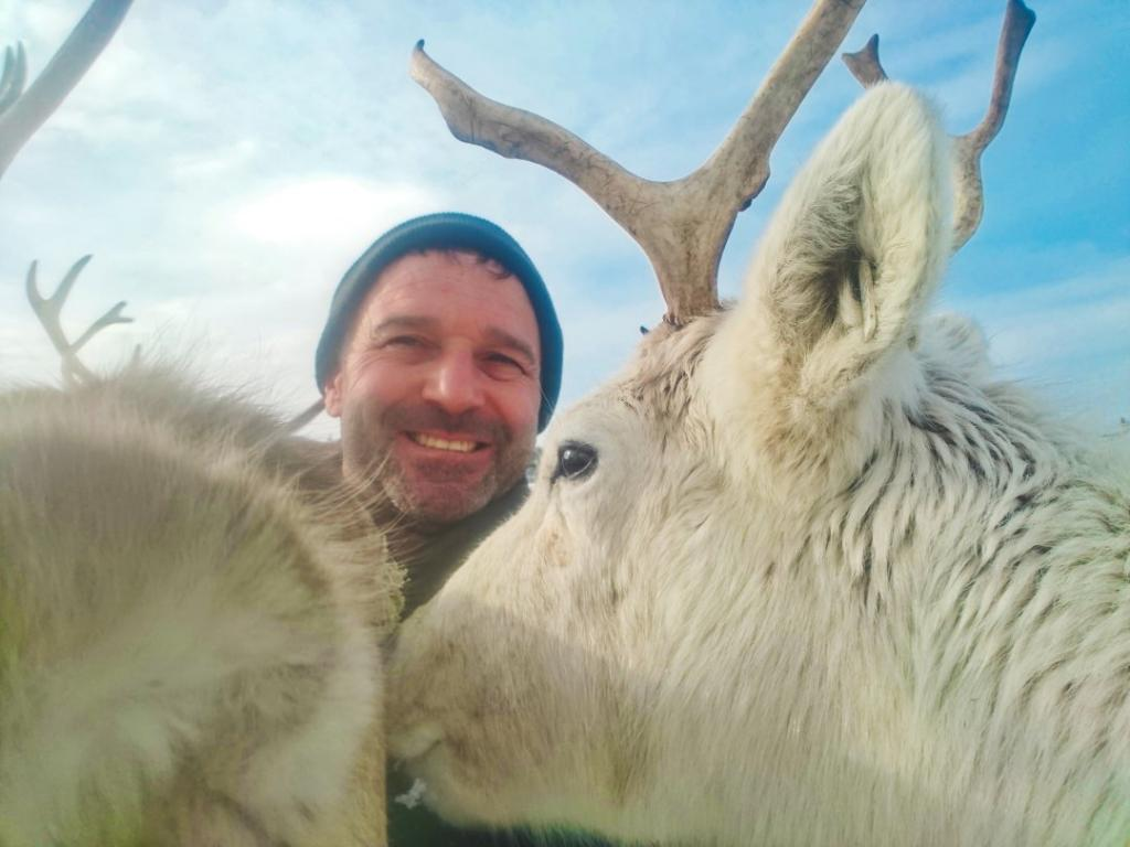 Robert Morgan with reindeer