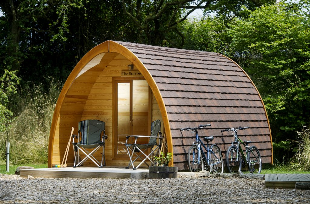 glamping pods on Gower