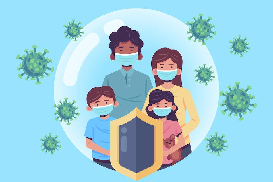 family wearing masks to protect themselves from COVID-19